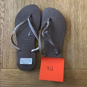 Havaianas, 35-36, dark brown, thin strap, new